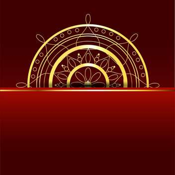 Vector red background with gold element - vector gratuit #130061