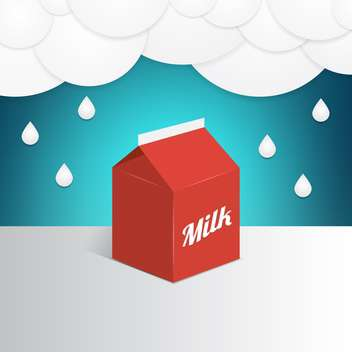 Vector illustration of a red milk container under milk rain - бесплатный vector #130101