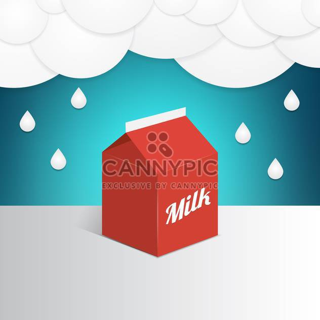 Vector illustration of a red milk container under milk rain - Free vector #130101