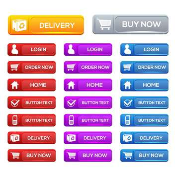 Vector set of colorful shopping icons on white background - vector #130111 gratis