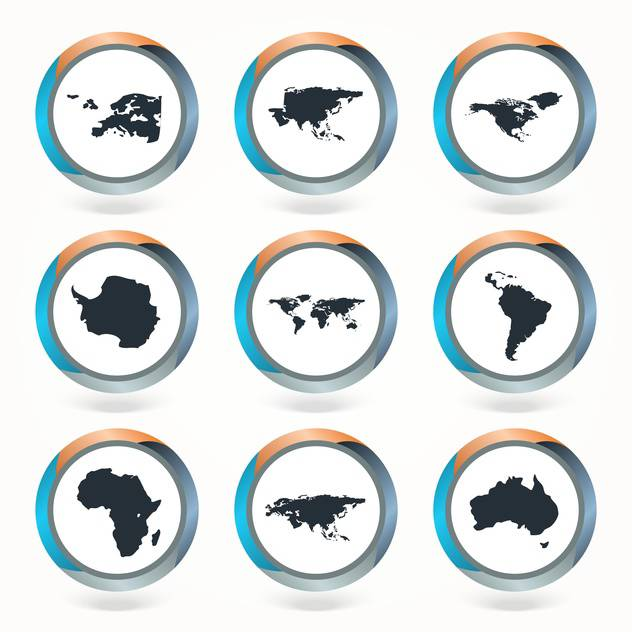 Set of vector globe icons showing earth with all continents - vector gratuit #130121