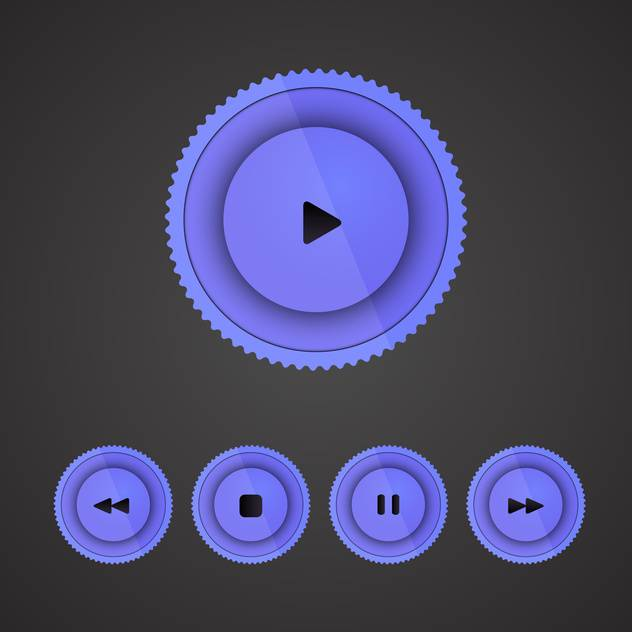 Vector set of purple player buttons on dark background - vector gratuit #130141