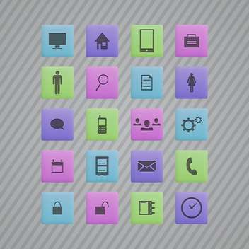 Vector communication colorful icons on grey striped background - vector gratuit #130151
