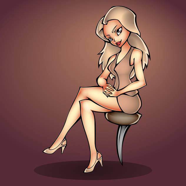 Vector sexy girl sitting on chair - vector gratuit #130171