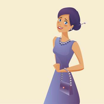 Vector illustration of elegant woman in purple dress - бесплатный vector #130201