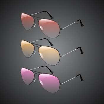 Vector illustration of sunglasses on black background - vector gratuit #130211