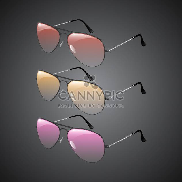 Vector illustration of sunglasses on black background - Free vector #130211