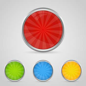 Set with colored buttons with chrome stroke - vector gratuit #130371