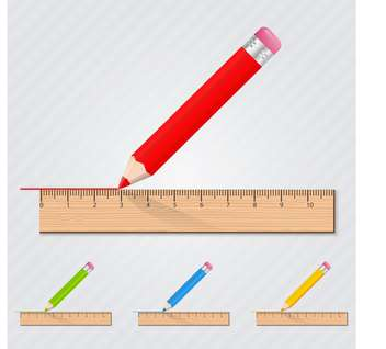 Colored set with pencils with rulers - vector gratuit #130381