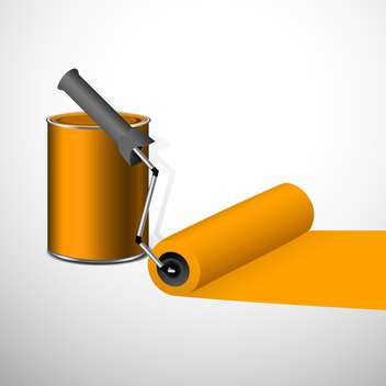 Paint can with a roller, isolated on white background - vector gratuit #130411