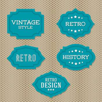 Vector vintage retro green labels on doted background - Free vector #130541