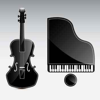 Vector musical instruments on grey background - vector #130611 gratis