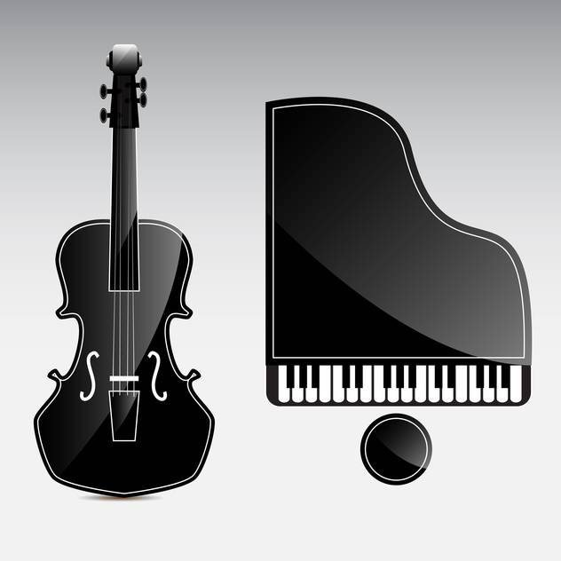 Vector musical instruments on grey background - vector gratuit #130611