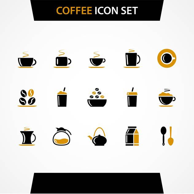 Vector coffee icons set on white background - Free vector #130731