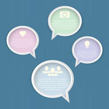 Speech bubbles set on blue background - Kostenloses vector #130751