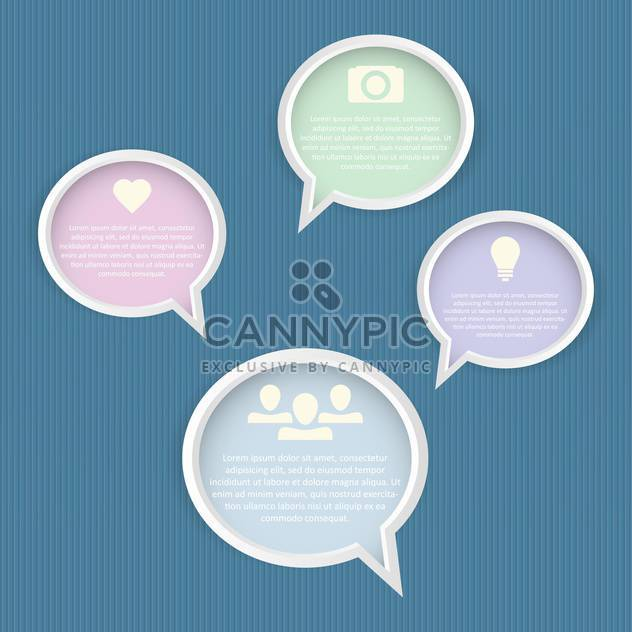 Speech bubbles set on blue background - Free vector #130751