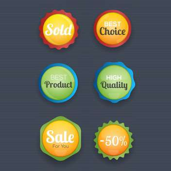 vector illustration of round shaped shopping labels collection - vector gratuit #130761