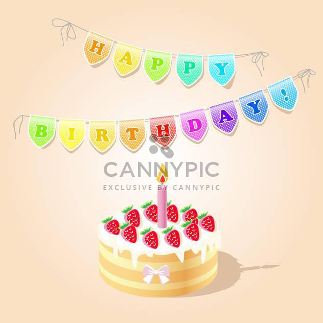 Vector Birthday Card with strawberry cake - Free vector #130791