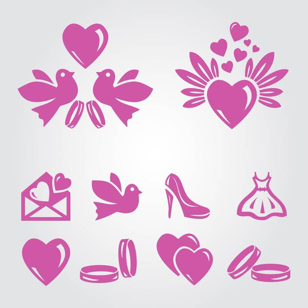 vector illustration set of pink wedding icons on grey background - Free vector #130801