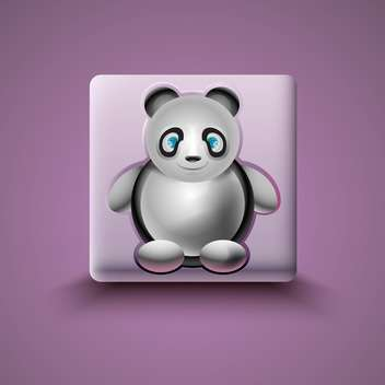 panda icon on purple background - Free vector #130811