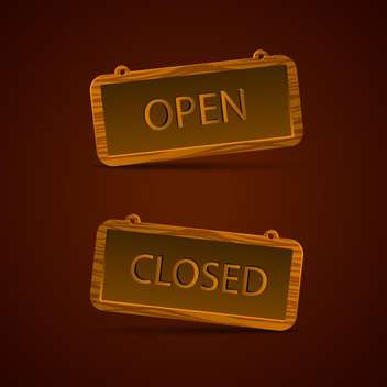 wooden signs with open and closed text on brown background - Free vector #130821