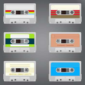 Audio tape set of six vintage records - vector gratuit #130951