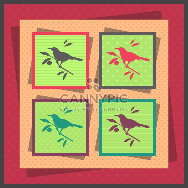 Set of four birds cards vector illustration - Free vector #131001