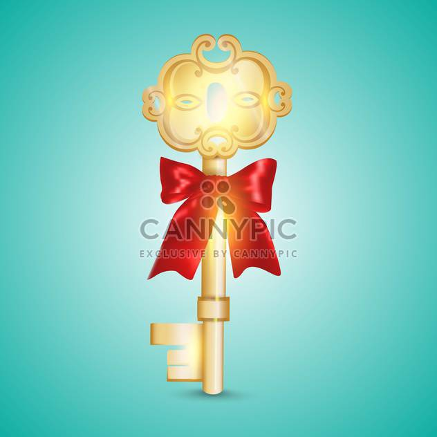 Golden key vector illustration on blue background - Free vector #131101