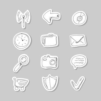 Funny hand-drawn icons set vector illustration - Free vector #131261
