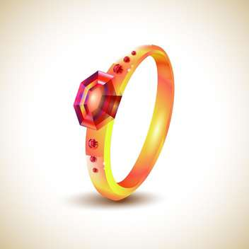 Golden ring with red jewels on light background - vector gratuit #131311