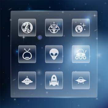 Space web buttons set vector illustration - Kostenloses vector #131321