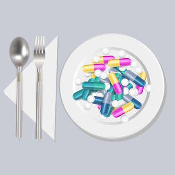 Pills on the plate vector illustration - Free vector #131331
