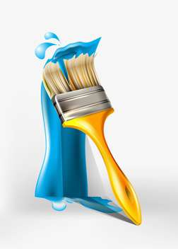 Paint brush painting with blue paint - vector gratuit #131421