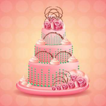 Cute and tasty birthday cake illustration - vector gratuit #131451