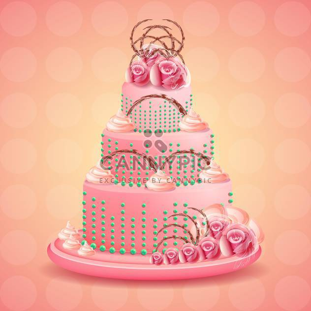 Cute and tasty birthday cake illustration - Free vector #131451