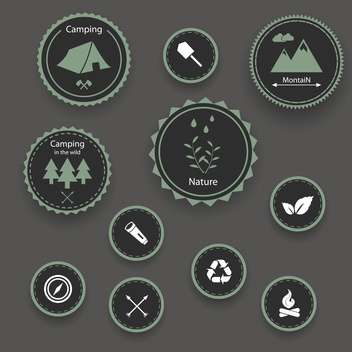 Set of camping icons on grey background - vector #131471 gratis
