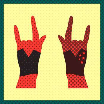 Hands up showing rock sign grunge illustration - vector gratuit #131491