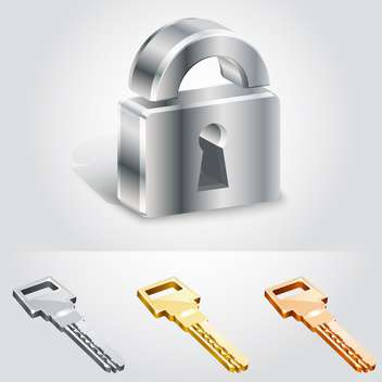 Shiny metal lock with three keys on white background - бесплатный vector #131501