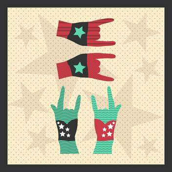 Hands up showing rock sign grunge illustration - Free vector #131591