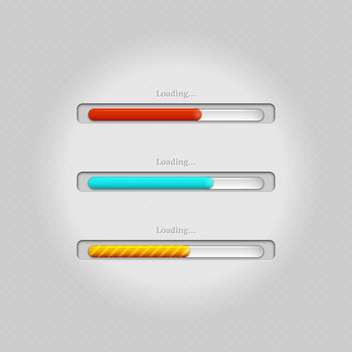 Vector colorful loading bars on grey background - vector #131671 gratis
