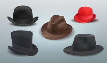 Vector set of different hats on grey background - vector gratuit #131711