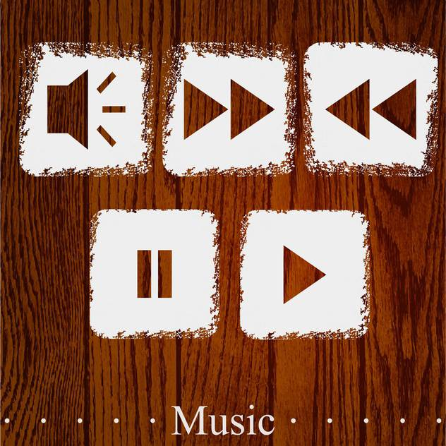 Vector set of media player icons on wooden background - бесплатный vector #131811