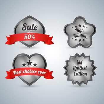 Set of four sale labels on grey background - vector gratuit #131931