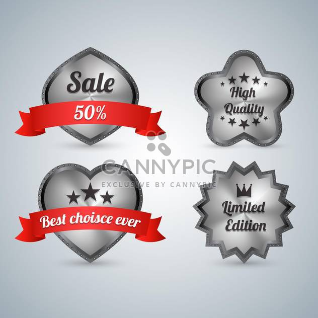 Set of four sale labels on grey background - Free vector #131931