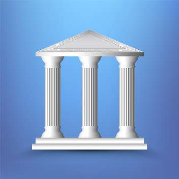 vector illustration of ancient columns on blue background - vector gratuit #131941