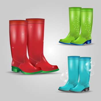 Set of colored rubber boots vector illustration - Free vector #132011