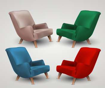 Set of four colored armchairs on white background - Free vector #132031
