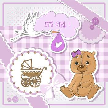 Baby shower purple invitation card - vector #132151 gratis