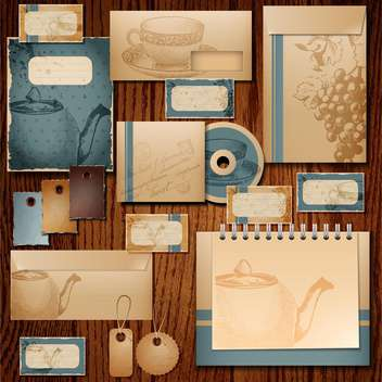 Selected corporate templates in retro style on wooden background ,vector Illustration - бесплатный vector #132161