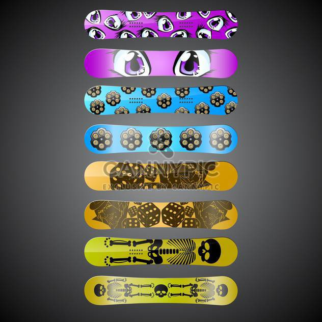 Vector snowboards with different design on black background - Free vector #132201